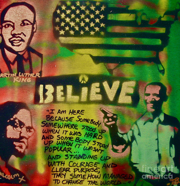 Barack Obama Poster featuring the painting Barack And Martin And Malcolm by Tony B Conscious