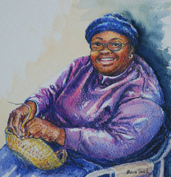 Basket Weaver Poster featuring the painting Basket Weaver In Blue Hat by Sharon Sorrels
