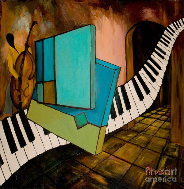 Jazz Poster featuring the painting Bass Solo by Larry Martin