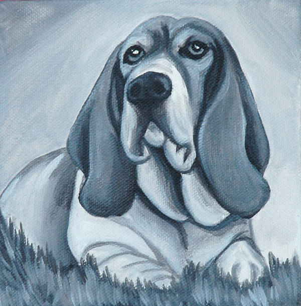Basset Hound Poster featuring the painting Basset Hound In Black And White by Lauren Hammack