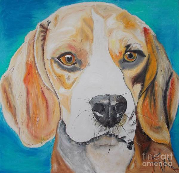 Dog Poster featuring the painting Beagle by PainterArtist FIN