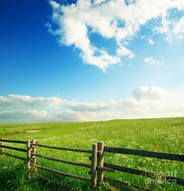 Beautiful Sky Poster featuring the photograph Beautiful Sky On Greens Landscape by Boon Mee