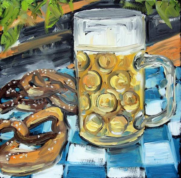 Beer Poster featuring the painting Beer And A Pretzel by Julie Galante