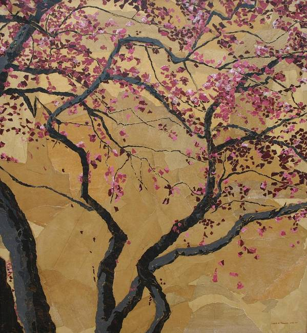 Tree Poster featuring the painting Blooming Prairie Fire by Leah Tomaino