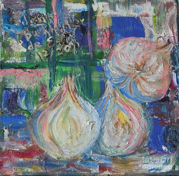 Onions Poster featuring the painting Blue Onions - SOLD by Judith Espinoza