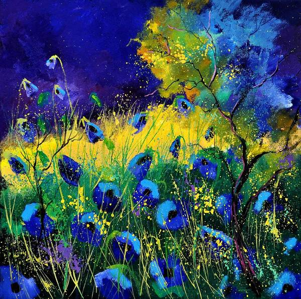 Landscape Poster featuring the painting Blue poppies 7741 by Pol Ledent