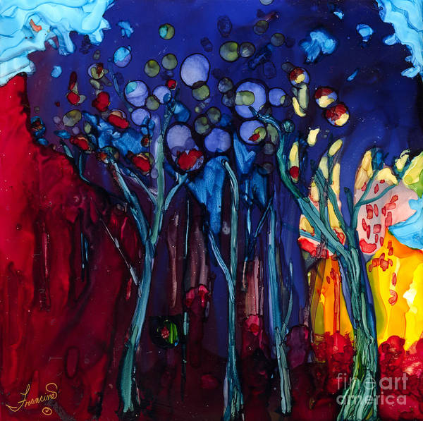 Blue Poster featuring the mixed media Blue Trees One by Francine Dufour Jones