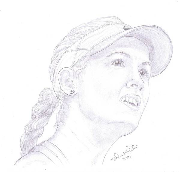 Eugenie Bouchard Poster featuring the drawing Bouchard by Steven White