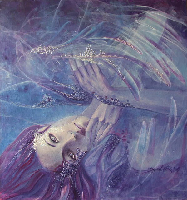 Lace Poster featuring the painting Broken Wings by Dorina Costras