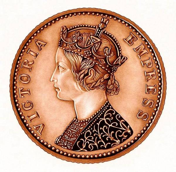 Coin Poster featuring the drawing Bronze Empress Victoria by Fred Larucci