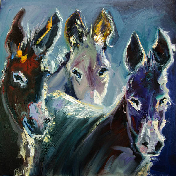 Burro Poster featuring the painting Burro Three by Diane Whitehead