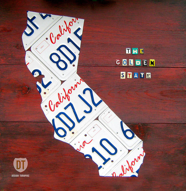 License Plate Map Poster featuring the photograph California License Plate Map by Design Turnpike