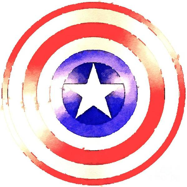 Captain America Poster featuring the painting Cap Am Shield by HELGE Art Gallery