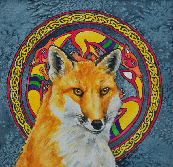 Celtic Poster featuring the painting Celtic Fox by Beth Clark-McDonal