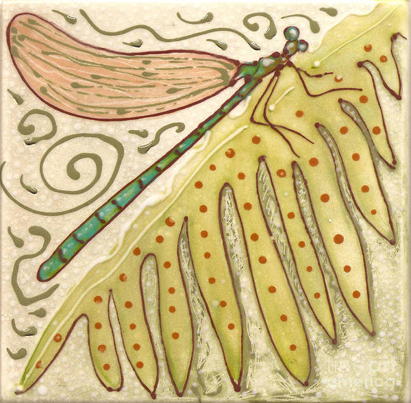 Insect Poster featuring the painting Ceramic Dragonfly by Anna Skaradzinska