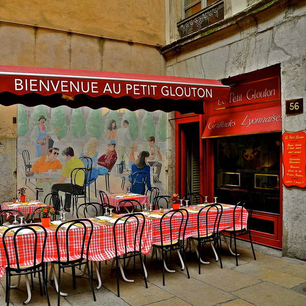 Lyon Poster featuring the photograph Charming French Outdoor Cafe by Kirsten Giving