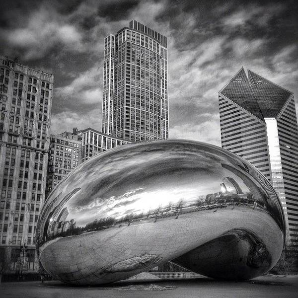 America Poster featuring the photograph Chicago Bean Cloud Gate HDR Picture by Paul Velgos