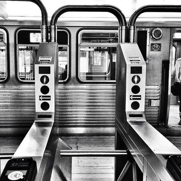 Chicagogram Poster featuring the photograph Chicago L Train Gate In Black And White by Paul Velgos