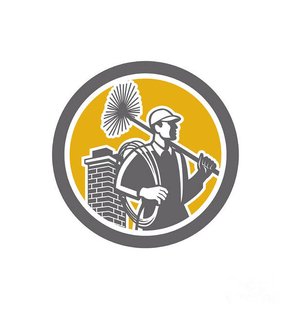 Chimney Sweep Poster featuring the digital art Chimney Sweeper Worker Retro by Aloysius Patrimonio