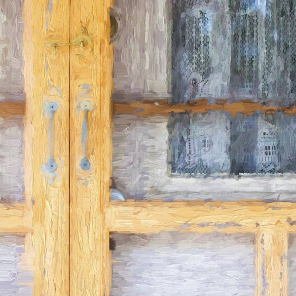 Curtains Poster featuring the photograph Church Camp House Detail Painterly Series 14 by Carol Leigh