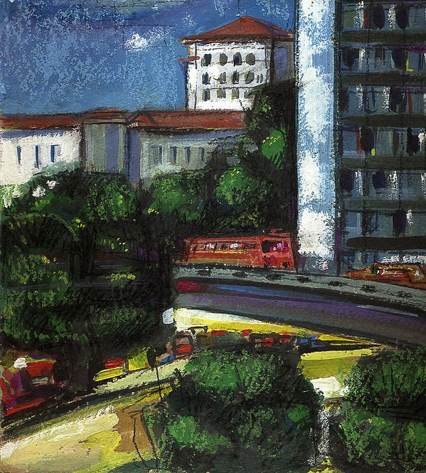 City Poster featuring the painting City by Nato Gomes