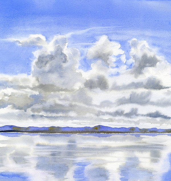 Watercolor Poster featuring the painting Cloudy Sky with Reflections by Sharon Freeman