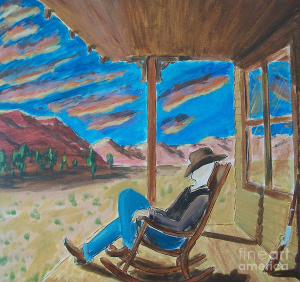 John Lyes Poster featuring the painting Cowboy Sitting In Chair At Sundown by John Lyes