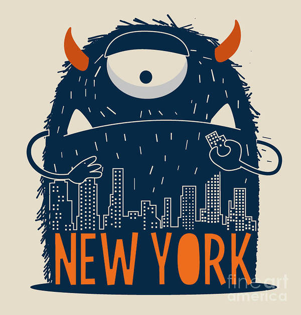 Symbol Poster featuring the digital art Cute Monster Vector Character Design by Braingraph