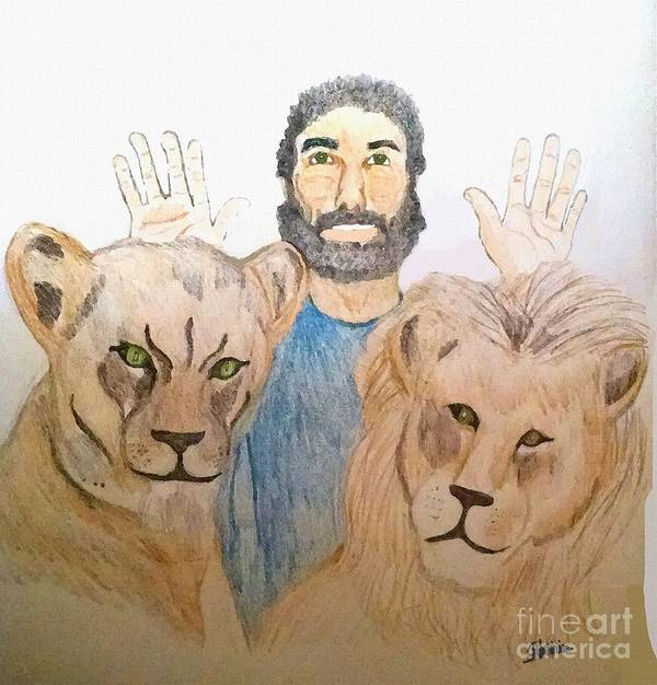 Daniel In The Lions' Den Poster featuring the painting Daniel in the Lions' Den by Pharris Art