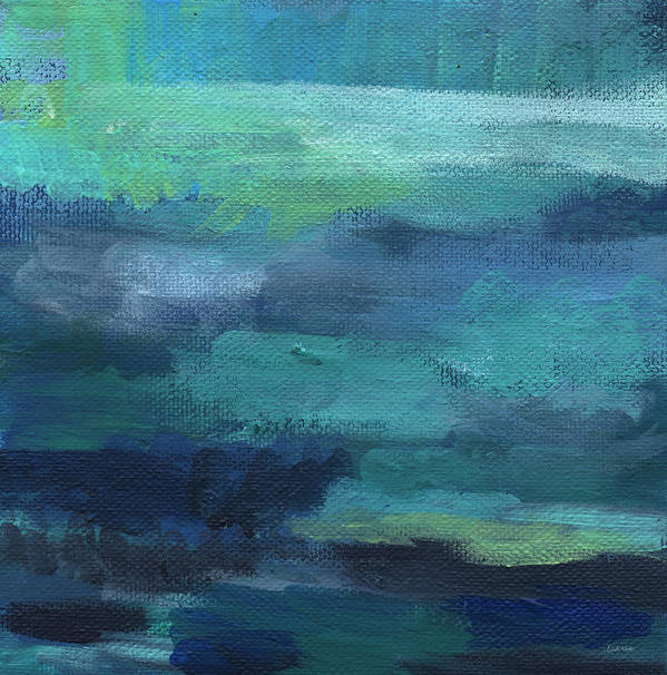 Blue Poster featuring the painting Tranquility- abstract painting by Linda Woods