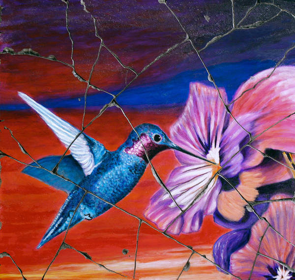 Hummingbird Poster featuring the painting Desert Hummingbird - Study No. 1 by Steve Bogdanoff