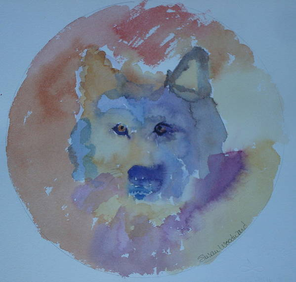 Mixed Media Painting Poster featuring the painting Dream Wolf by Susan Woodward