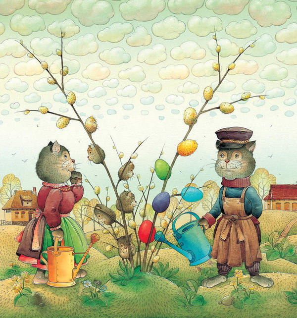 Easter Eggs Green Spring Cats Landscape Poster featuring the painting Eastereggs 05 by Kestutis Kasparavicius