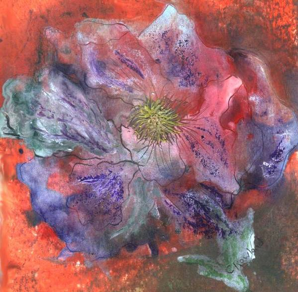 Blue Poster featuring the painting Fantasy Clematis by Carol Rowland