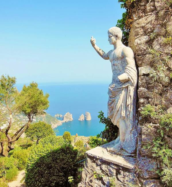 Capri Poster featuring the photograph Faraglioni Rocks From Mt Solaro Capri by Marilyn Dunlap