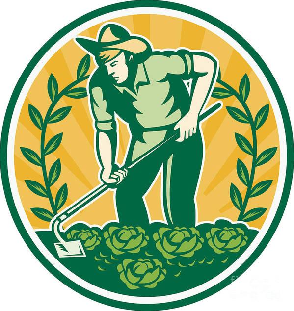 Farmer Poster featuring the digital art Farmer Gardener With Garden Hoe Cabbage by Aloysius Patrimonio