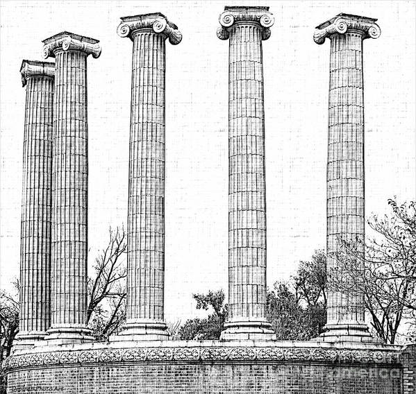 Architecture Poster featuring the photograph Five Columns Sketchy by Debbie Portwood