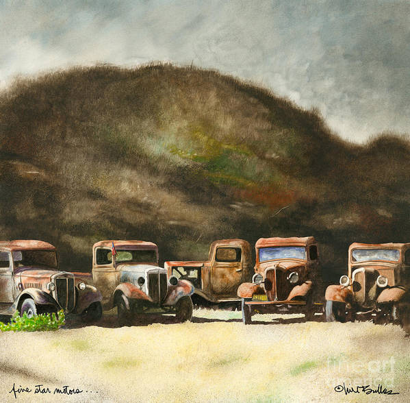 Will Bullas Poster featuring the painting Five Star Motors... by Will Bullas