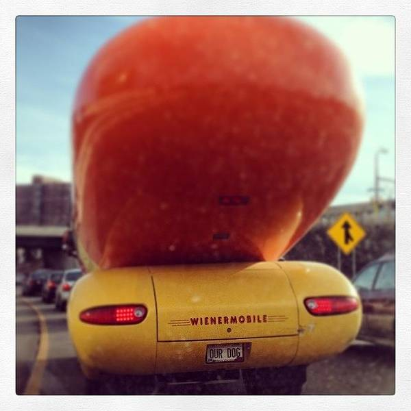 Oscar Mayer Poster featuring the photograph Following The Weinermobile by Heidi Hermes