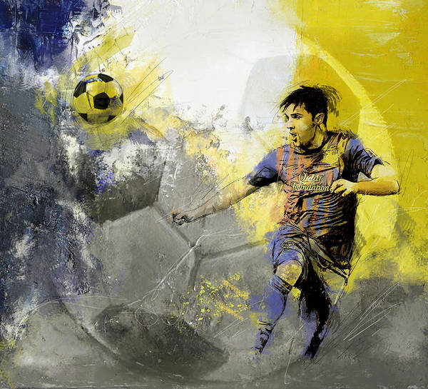 Sports Poster featuring the painting Football Player by Catf