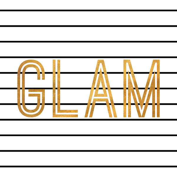 Glam Poster featuring the digital art Glam Pinstripe Gold by South Social Studio
