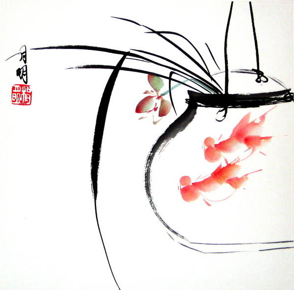 Chinese Painting Poster featuring the painting Goldfish by Ming Yeung