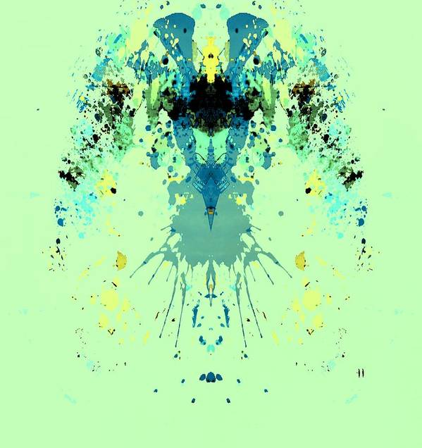 Alien Poster featuring the digital art Green Alien by Dan Sproul