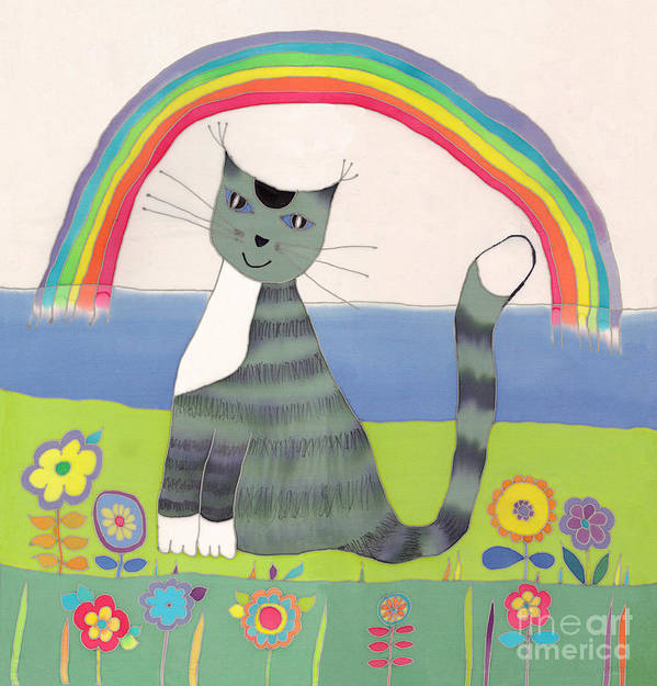 Cat Poster featuring the tapestry - textile Grey Cat Under Rainbow by Yana Vergasova