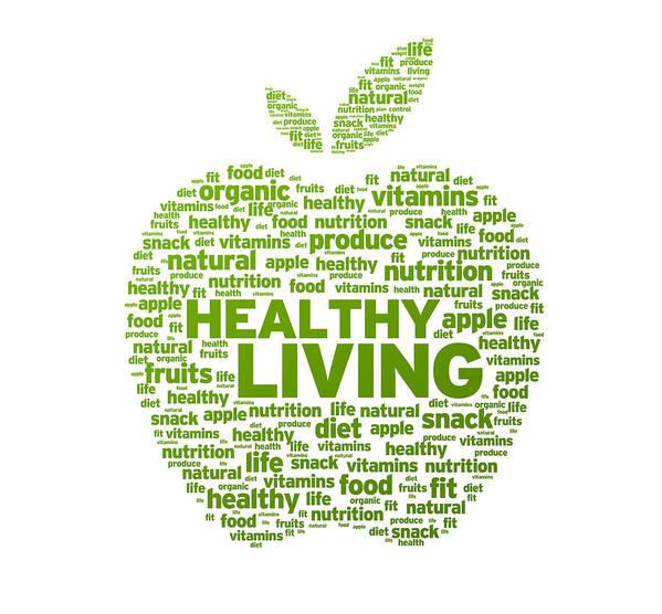 Healthy Living Apple Illustration Poster