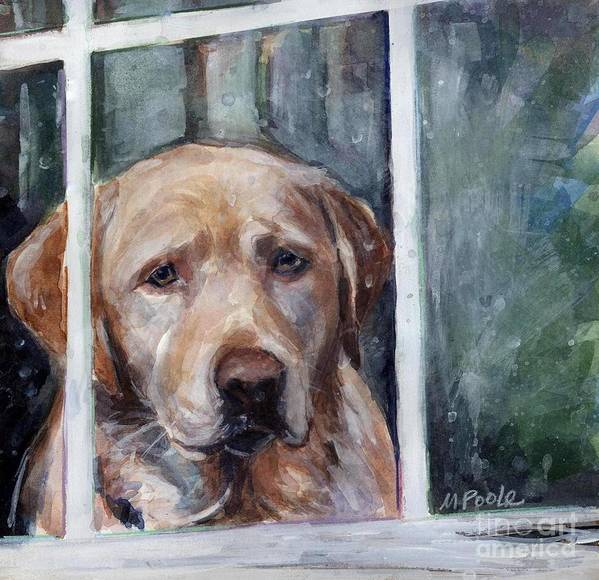 Yellow Dog Poster featuring the painting Homebody by Molly Poole