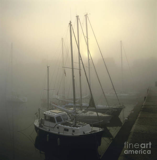 The Poster featuring the photograph Honfleur Harbour In Fog. Calvados. Normandy by Bernard Jaubert