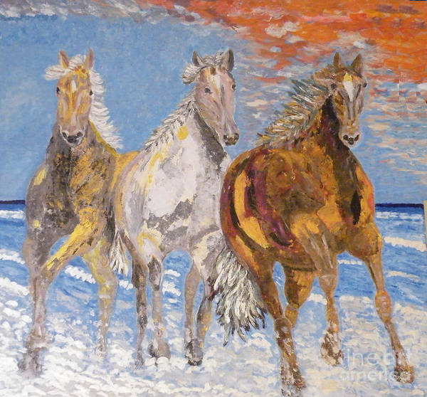 Horses Poster featuring the painting Horses On The Beach by Vicky Tarcau