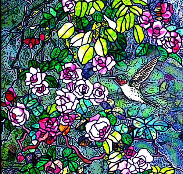 Stained Glass Poster featuring the digital art Hummingbird Tiffany Style by Norma Boeckler