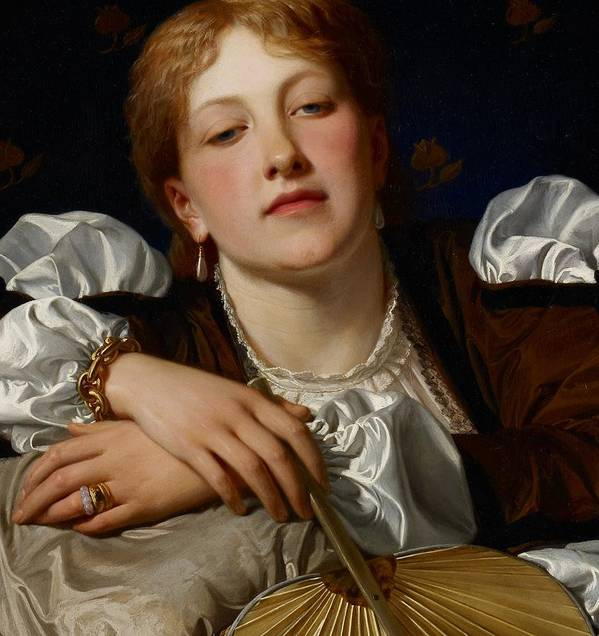 Portrait Poster featuring the painting I Know A Maiden Fair To See by Charles Edward Perugini